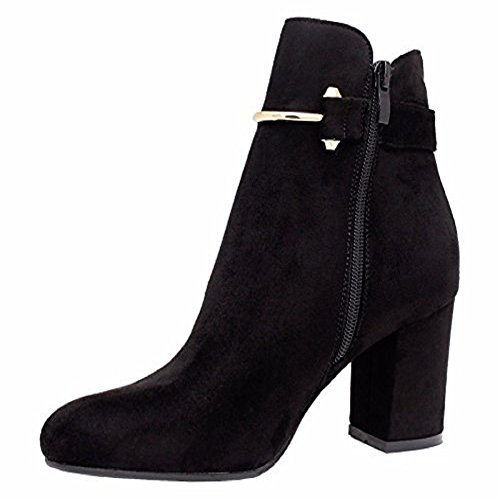 Womens Faux Suede Ankle Shoe Buckle Ring Detail Boots Block Heels Zip Up Causal [Black UK 4 / EU 37 / USA 6]