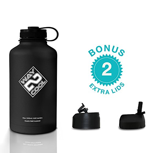Way 2 Cool - Stainless Steel Water Bottle, Wide Mouth, 64oz. - PLUS 3 LIDS