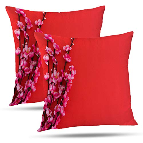 Batmerry Spring Pillows Decorative Throw Pillow Covers 18x18 Inch Set of 2, Red Asian Chinese New Year Blessing Blossom Branch Double Sided Square Pillow Cases Pillowcase Sofa Cushion