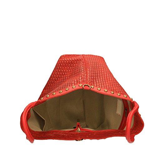 cuir avec Chicca Sac in à cuir véritable en Borse 53x34x20 Cm Italy Rouge bandoulière tressé Made en main imprimé rrwzqY6
