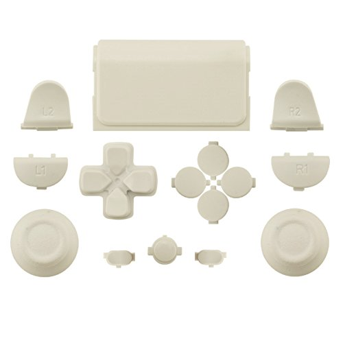 WPS Touch Pad Thumbsticks Dpad Home Full Buttons Set Replacement parts for PS4 Playstation 4 Dualshock 4 controller shell ( For GEN 1 Controllers) (White)