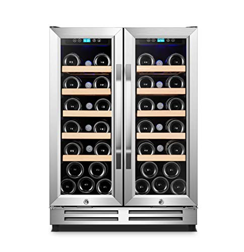 Karcassin Wine Cooler Refrigerator - Compressor Wine Chiller - Dual Temp Zones wine fridge for Red & White - Stores upto 36 Bottles - Silent with Low Vibrations - Freestanding or Built-in