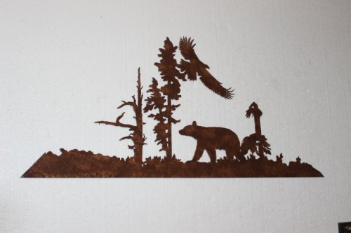 Bear and Eagle Metal Wall Art Country Rustic Decor