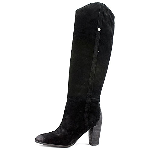 Guess dedo del pie redondo del ante de Tan Honon rodilla alta bota Black