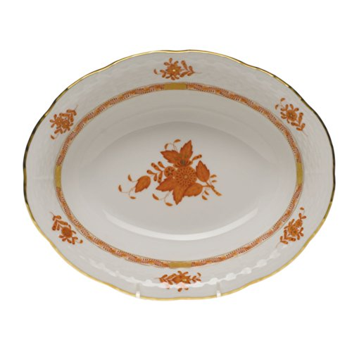 (Herend Chinese Bouquet Rust Oval Vegetable Dish )