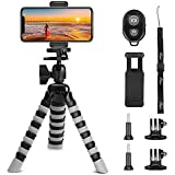 Phone Tripod, Peyou [Upgraded Version] 3 in 1 Portable and Flexible Tripod Stand + Cell Phone Mount Holder + 2 Tripod Adapter for GoPro with Bluetooth Wireless Remote Shutter, Camera Tripod Compatible with iPhone Samsung and All Smartphones Up to 6.5 Inch