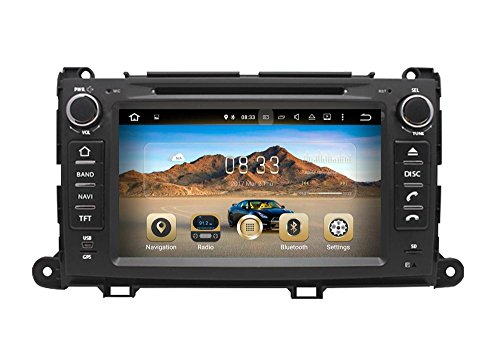 XTTEK 8 inch HD 1024x600 Multi-touch Screen in dash Car GPS Navigation System for Toyota Sienna 2011-2014 Quad Core Android DVD Player+Bluetooth+WIFI+SWC+Backup Camera+North America Map Gps Navigation System Kit