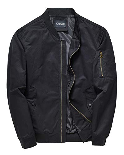 Chartou Men's Mid-Weight Flight Air Force Bomber Letterman Jacket Tactical Outwear (Black, Small)