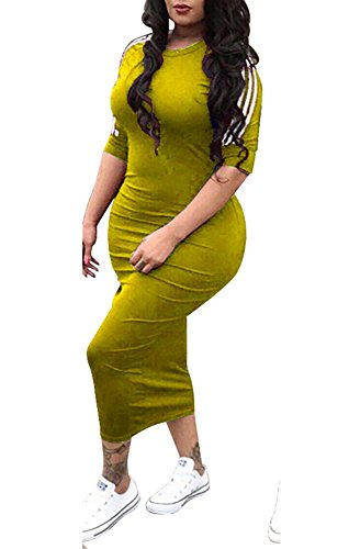 Striped Sleeve Crewneck Casual Yellow Remelon Dress Long Bodycon Half Pencil Womens Midi Tunic qEx6g