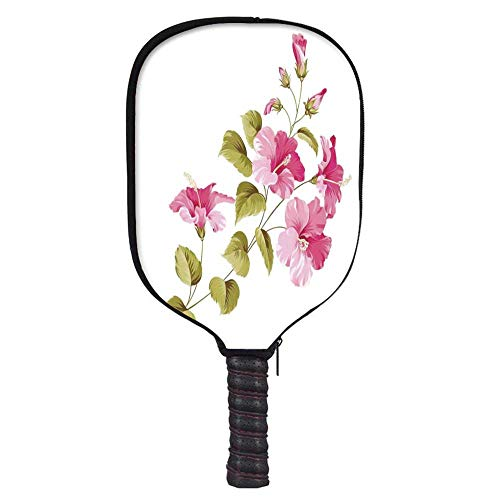 MOOCOM Flower House Decor Fashion Racket Cover,Tropic Wild Hibiscus Flower Branch with Fresh Leaves Exotic Flora Concept for Playground,8.3