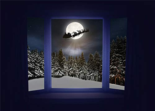 (Christmas Backdrop Pine Tree Winter Snow Scene windowsill Outside The Window Fairy Tale Santa Claus Reindeer Moon)