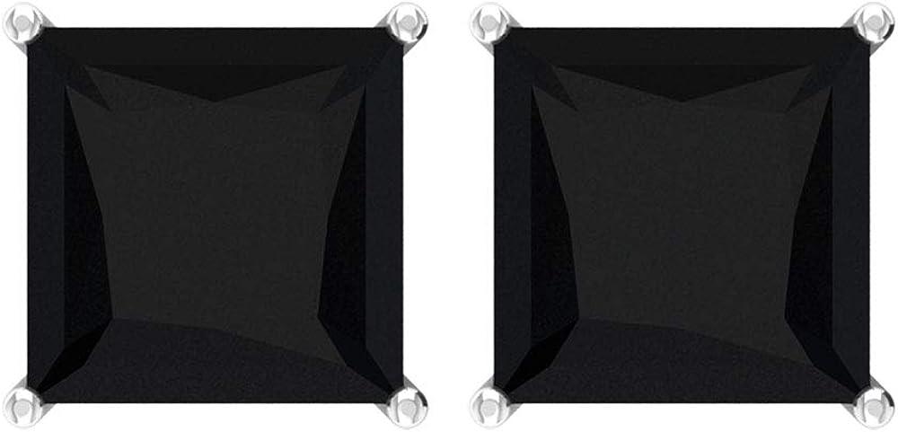 Pendiente de espinela negro certificado de 6 quilates, corte princesa, pendientes de boda nupcial, pendientes de fiesta para mujer, pendientes de aniversario, tornillo hacia atrás