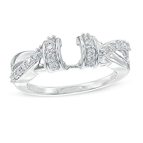 tusakha 1/3 CT. TW. Cubic Zirconia Collar Crossover Solitaire Ring Enhancer .925 Sterling Silver 18K White Gold Finish (6.5) ()