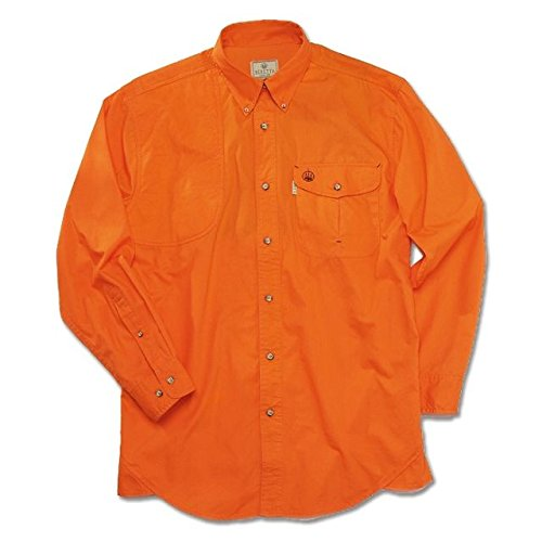 Beretta Men's Featherlight Cotton Signature Long Sleeve Shooting Shirt, Orange, Large