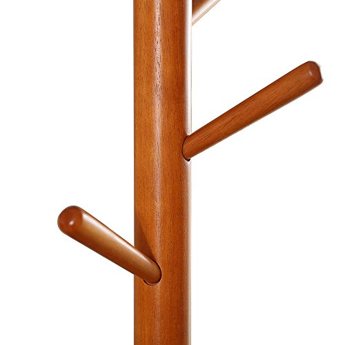 LCH Sturdy Standing Coat Rack Solid Rubber Wood Hall Tree Coat Tree with Tripod Base,8 Hooks(Honey) by LCH (Image #6)