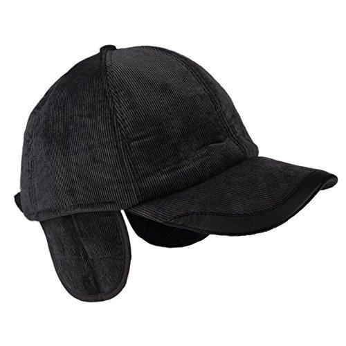 Flammi Adult Adjustable Fleece-lined Baseball Earflap Hat Visor Cap (Black Corduroy  outer afd5e95778e7