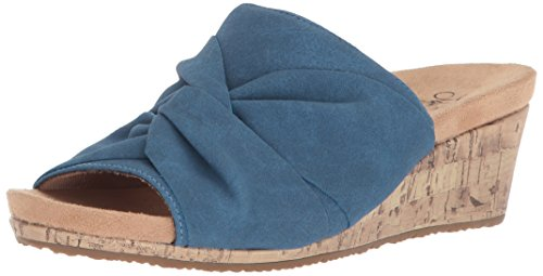 Soft Systems - LifeStride Women's Mallory Wedge Sandal, Blue, 8 W US