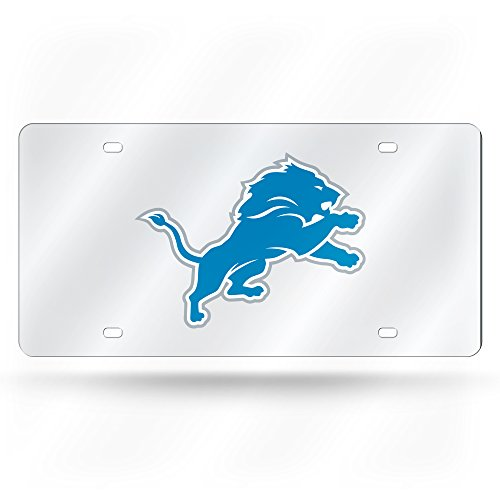 Rico Industries NFL Detroit Lions License PlateLicense Plate Laser Cut Silver, Team Colors, One Size