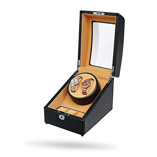 [Upgrades]JQUEEN Double Watch Winder with 3 Watch Storages, Black Leather -