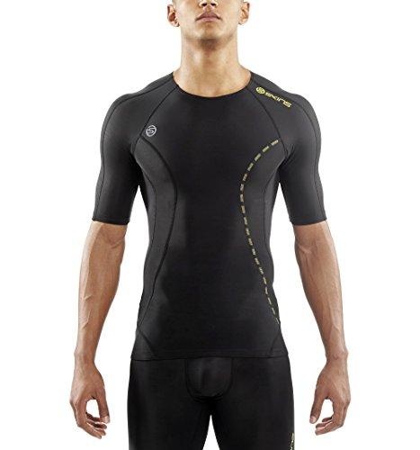 (Skins Men's DNAmic Compression Short Sleeve Top, Black, Large)