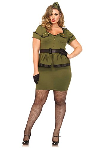 Leg Avenue Women's Plus-Size 3 Piece Commander Cutie Military Costume, Khaki, (Army Commander Costume)