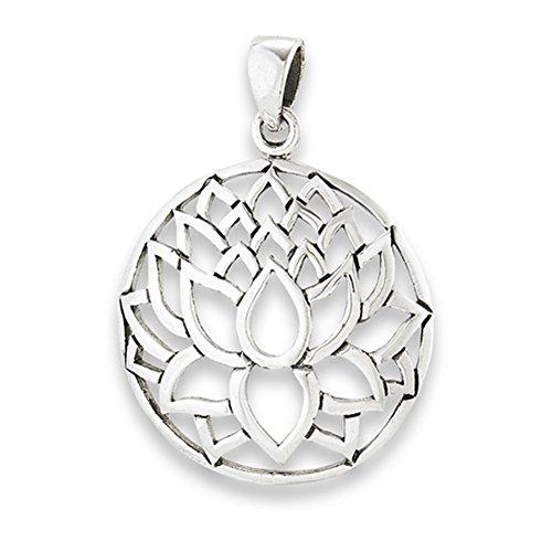 Flower Lotus Pendant .925 Sterling Silver Flower Open Burst Circle Bloom Charm