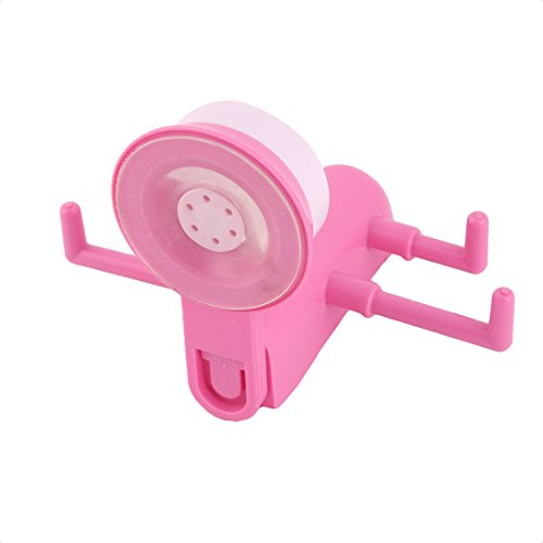 free shipping uxcell Plastic Bathroom Kitchen Suction Cup Wall Hook Clothes Cap Hanger Rack Pink