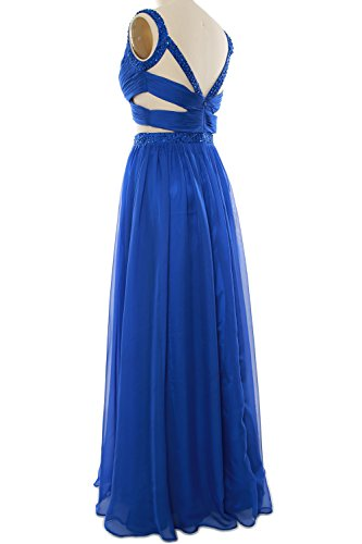 Sexy Women MACloth Silber Gown Party Long Formal Prom 2 Chiffon Dress Piece Homecoming 4ddfCTa