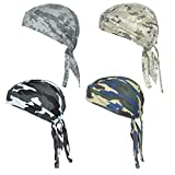 QING Sweat Wicking Beanie Cap Hat Chemo Cap Skull Cap Wrap for Men and Women (Camouflage Pack of 4)