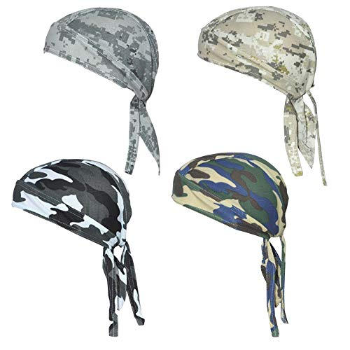 QING Sweat Wicking Beanie Cap Hat Chemo Cap Skull Cap Wrap for Men and Women (Camouflage Pack of 4) -