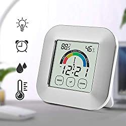 Bien-Zs Touch Screen Digital Thermometer Hygrometer Alarm Clock Home Indoor Table Comfort Index Display Temperature Humidity Meter