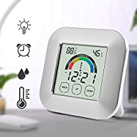 Aioloc Digital Alarm Clock, Humidity Monitor Hygrometer Thermometer Gauge Smart Temperature Meter Alarm Timer with Comfort Indicator and Touchscreen Backlight for Indoor and Outdoor