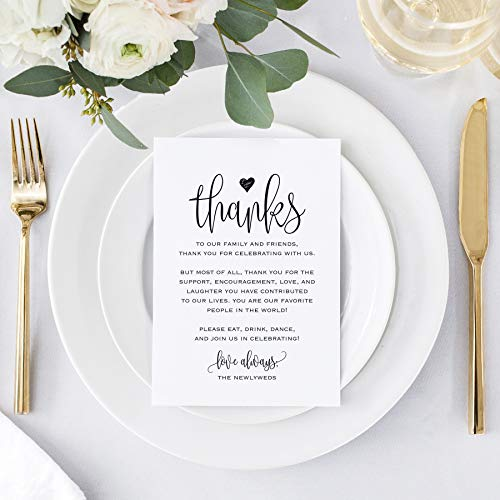 Wedding Thank You Place Setting Cards, 4x6 Print to add to your Table Centerpieces and Wedding Decorations — Pack of 50 -