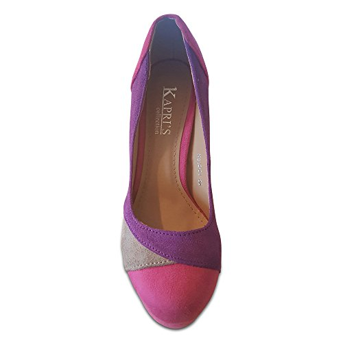 Kapri's Collection Three Colour Contrast Suede Platform Court Shoe Pink/Purple/Grey awnGt8XN