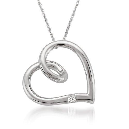 10k White Gold Princess-cut Diamond Accent Heart Pendant Necklace H-I, I2-I3