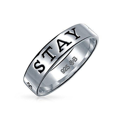 Sentimental Word Engraved Stay Strong Purity Promise Ring Band For Teen For Women 925 Sterling Silver