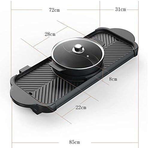 SJZD Gril électrique détachable de Gril électrique sans fumée, Casserole antiadhésive de Cuisine sûre de 2200W avec 5 réglages de température
