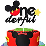 MALLMALL6 Onederful Mickey Mouse Inspired Cake Topper, First Birthday Cake Topper Party Cake Decoration Supplies