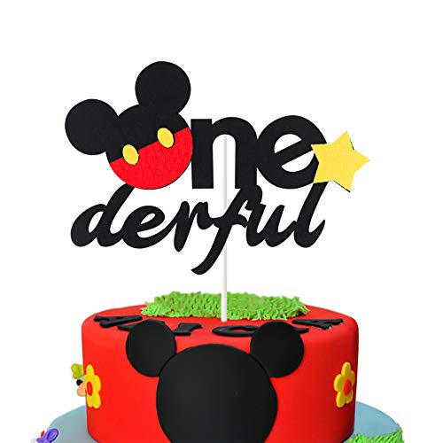 MALLMALL6 Mickey Inspired One Birthday Cake Topper, Onederful First Birthday Cake Topper Party Cake Decoration Supplies for Boys and Girls ()