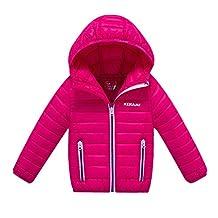 MNBS Girls Kids Boys Winter Hooded Lightwear Outwear Down Jacket Coat Rose 140