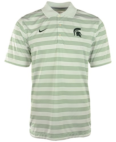 Michigan State Spartans Nike Dri-Fit White Striped Pre-Season Polo Shirt (Small) (Michigan Striped Shirt)