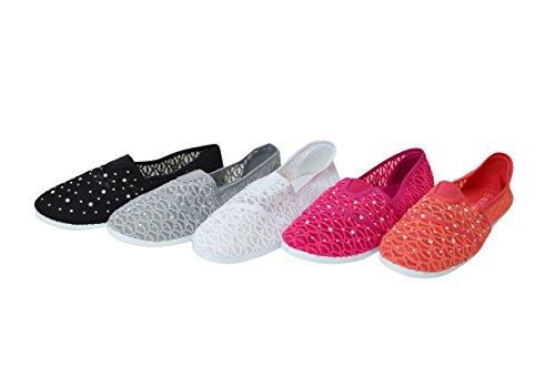 Shoelace Womens Slip On Foral Lace Flats Shoes Canvas Net Ballerina Rhinestone Flat Casual Boat 16-black 2aeHRRT