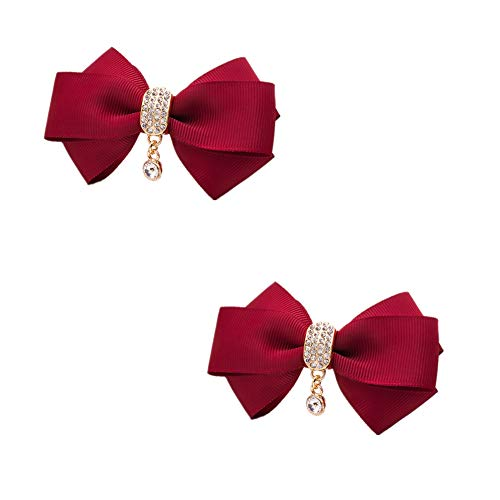 Douqu Rhinestone Crystal Dangle Center Ribbon Assorted Color Bow Shoe Clips Pair Removable Shoe Buckle (Wine Red)