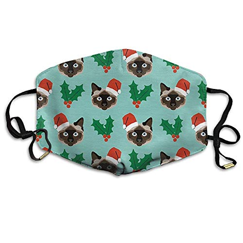 SOADV Mouth Masks Unisex Cute Christmas Santa Cat with Holly Christmas Cats Anti-dust Breathable Health Masks Mouth Face Mask