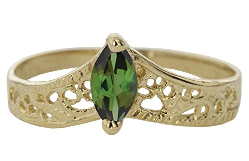 Genuine Marquise Emerald Ring (10k Yellow Gold Faceted Natural Genuine Green Emerald Filigree Marquise Chevron Pointed Thumb Ring Size 6.5)
