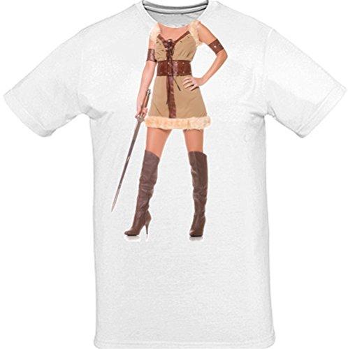 "T-Shirt - ""Vikinger Frau"" Kostüm - Karneval Fasching - weiß"