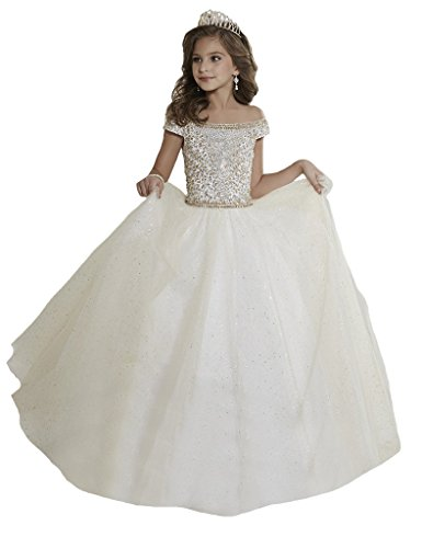 Price comparison product image Aisha Girls First/Holy Communion Dresses Off the shoulder Bateall Beading Porm Gown Pageant Dresses 16 US