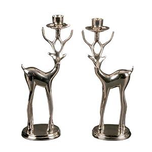 Landon Tyler Reindeer Candle Holders, Set of 2, Silver: Amazon.co ...