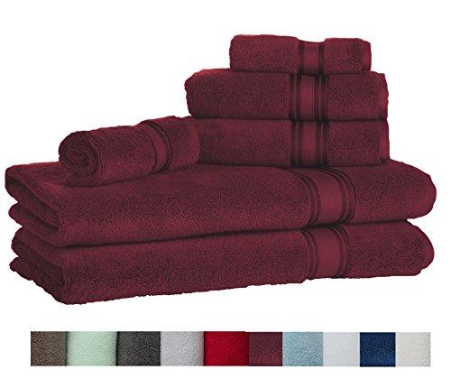 Casa Lino Quick Dry Super Zero Twist 6 Piece Bath Towel Set 7 Star Hotel Luxury Collection, 2 Bath Towel 28x54'', 2 Hand Towel- 16x28'', Face Towel- 13x13'' (burgundy) by Lezeth Collection