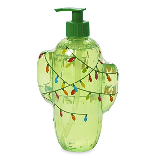 "Simple Pleasures Luxury Scented""Holiday Spirit"" Hand Soap Dispenser - Classic Refillable Cactus Shaped Kiwi Lemon Scented Cleansing Hand Soap Pump for Bathroom or Kitchen Counter Top"